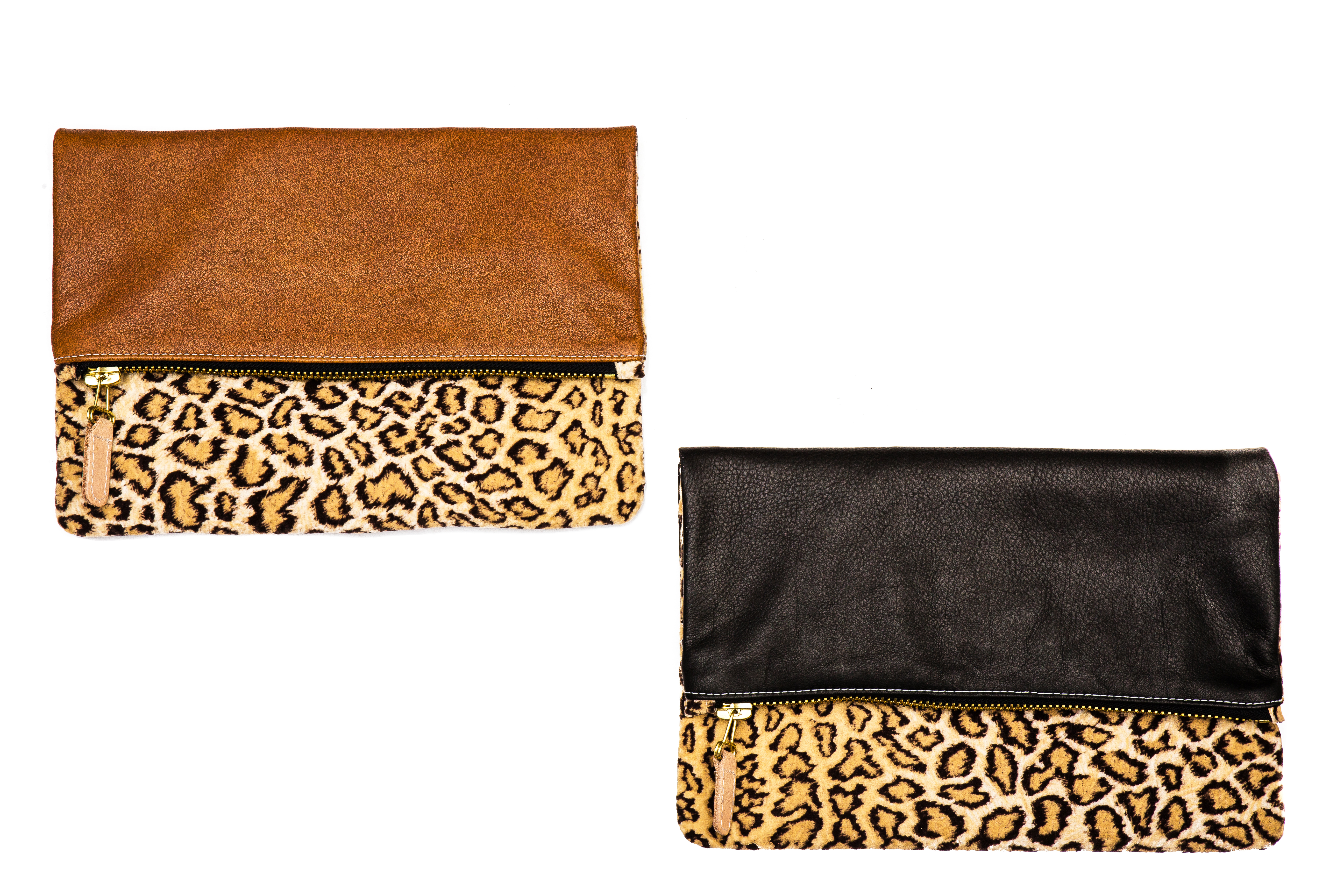 64122eea2653 Fold Over Leather and Chenille Cheetah Print Clutch - Baltimore Bag ...